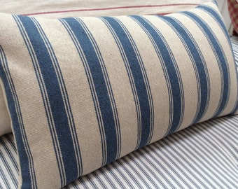 French Cottage Pillow/Ticking Stripe BluE and CReaM/Paris Shabby Chic/Lumber/Throw Pillow/coastal/Industrial