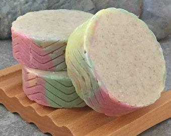 Warm Vanilla Apple Spice Round Bar Soap with Ground Vanilla Beans