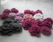 CLEARANCE Set of 20 Crochet Rolled look roses in a variety of colors