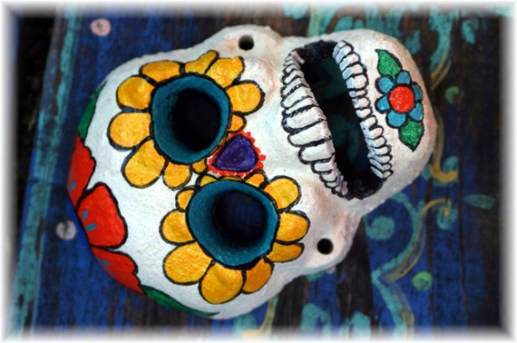 Sugar Skull Bottle opener cast iron hand painted by southern