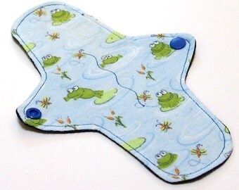 """Reusable Cloth winged ULTRATHIN Pantyliner - 8 Inch in """"Frog Pond"""" - Cotton Flannel top"""