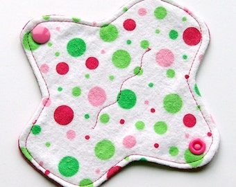 Reusable Cloth winged ULTRATHIN Pantyliner - 6 Inch - Christmas Polka Dot -Cotton flannel top