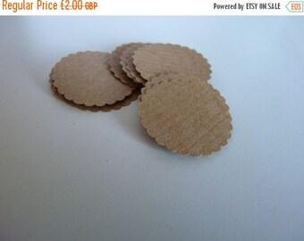 SUMMER SALE Circle sticker envelope seals - kraft brown with scalloped edges