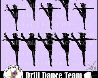 Drill Dance Team Silhouettes set 4 - 6 eps & svg Vinyl Ready files and 6 png digital graphics and commercial license [INSTANT DOWNLOAD]