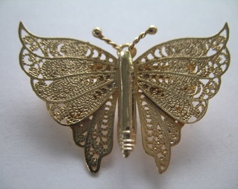 Gold Butterfly Brooch Pin