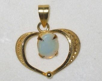 Heart Shaped Oval Opal Pendant