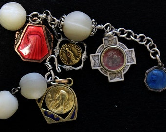 Early 1900's M.O.P and Sterling Rosary Bracelet with Very Rare Sterling Silver and Enamel Medals