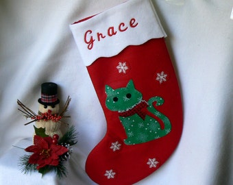 Personalized Christmas Stocking|Kitty Christmas Stocking|Traditional Red Felt Christmas Stocking|Kids Christmas Stocking|Christmas Decor|