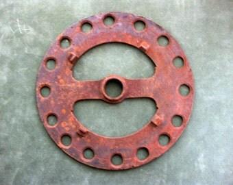 Antique Farm Tractor Cog, Rustic Yard Art, Assemblage Piece, Industrial Table Trivet