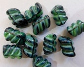 Vintage Opaque 13x8mm Ribbed Oval Tube Glass Beads in Green and Black or Red and Black  (10)