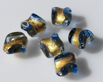 Czech Lampwork Clear Sapphire Blue with Gold Foil Twist Flat Round Glass Beads   14x10mm (1)  087