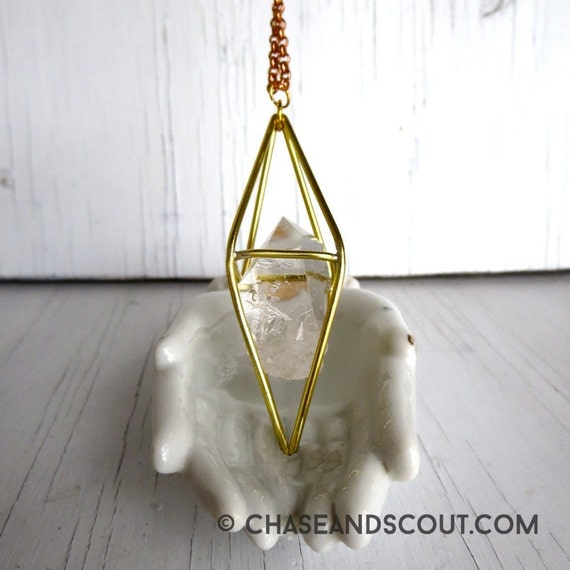 Caged Crystal Amulet Necklace, Handcrafted Brass and Quartz Pendant, Modern Gypsy Style, Geometric Necklace