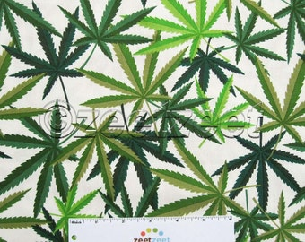 HERB Cream Green Leaf Marijuana Pot Weed Cannabis 420 Alexander Henry 100% Cotton Quilt Fabric by the Yard, Half Yard, or Fat Quarter Fq