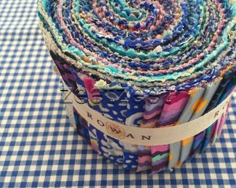 "JELLY ROLL Kaffe Fassett Classics BLUE Assortment Cotton Quilt Fabric - Design Roll - 30 Strips, 2.5"" Wide for Strip Quilting & Projects"