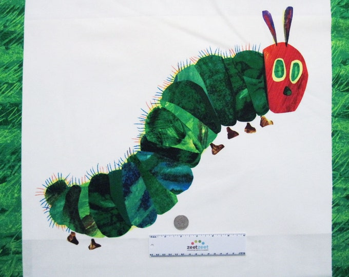 """VERY HUNGRY CATERPILLAR 22"""" Panel Caterpiller & Butterfly 2015 Multi Color Cotton Quilt Fabric"""