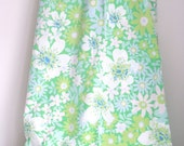Vintage twin floral green and blue sheet retro floral flat sheet