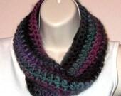 Soft Chunky Cowl -- Drama - Crocheted with Merino Wool/Nylon Yarn -- SOFT!  (SC006)