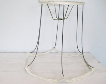 Vintage Large Wire Lamp Shade Frame Base- Bell Style with Scalloped Edges