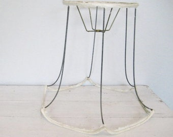 vintage large wire lamp shade frame base bell style with scalloped edges