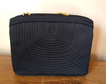 Black Satin Ladies Evening Bag with Goldtone Details