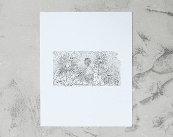 Kansas> Wild Sunflower> State Flower Drawing> Giclee Print