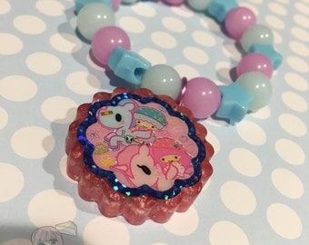 Tokidoki Little Twin Stars Glitter Cookie Charm Pastel Beads Bracelet