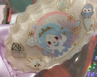 Frozen Ice Queen Japanese Character Oval Resin Charm And Bow Cuff Bracelet