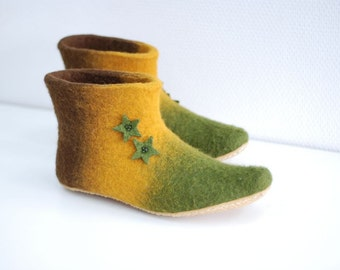 Felted slippers Alice in green brown mustard with stars CUSTOM MADE any colors and sizes