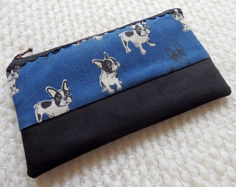 French Bulldog Zipper Bag:  Black Lace Zipper Pouch with Black and White French Bulldogs on Navy, Gingham Lining