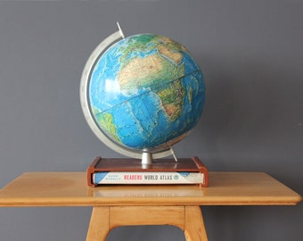 Vintage Rand McNally Globe on Stand w/ Atlas Book