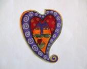 Valentine Kittie Heart  Iron On Applique