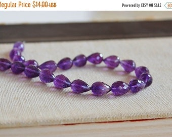 Mega SALE Amethyst Gemstone Faceted 3D Tear drop Briolette 10.5 to 11.5mm 5 beads