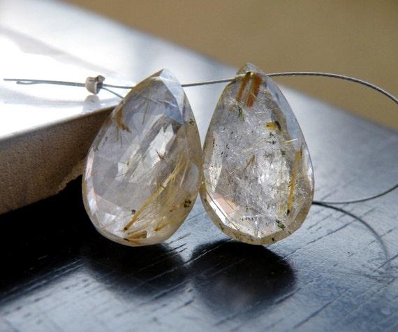 Rutilated Quartz Gemstone Briolette Golden Faceted Pear Teardrop 18.5mm and 19.5mm 2 beads