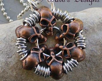 Chainmaille Copper Skull Pendant Necklace Is Great For Men And Women Alike