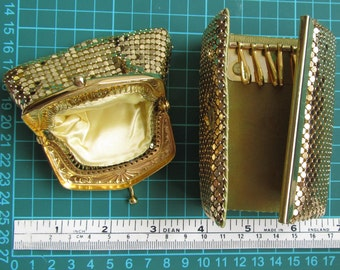 Vintage golden chainmail style shiny Coin Purse and Key holder