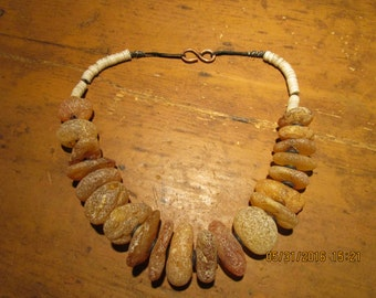 Urban Tribal Rustic Copal Amber and Ostrich Shell Bead Necklace  free shipping