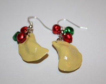 Festive Christmas Pierogi Dumpling Earrings With Red And Green Jingle Bells