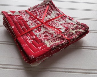 Set of 4 Quilted Coasters - Valentine (1)