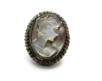 Cameo Ring - Vintage, Abalone, 800 Silver, Carved Shell, Twisted Wire, Bezel Set