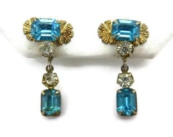 Vintage Earrings - Aqua Blue Scitarelli