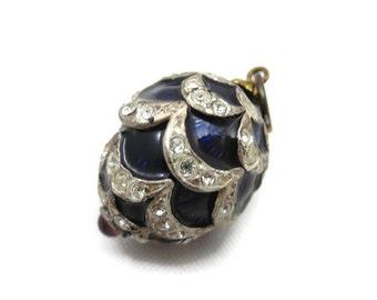 Enamel Egg Pendant - Faberge Style, Rhinestone, Tourmaline