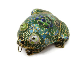 Cloisonne Enamel Frog Pendant - Green and Cobalt Blue