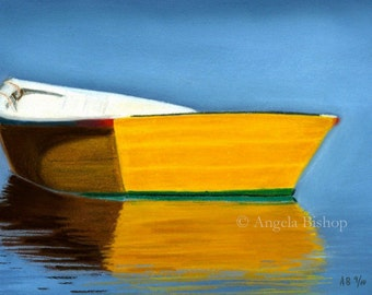 Boat Painting Print, Boat Reflection, Seascape, Nautical, Reflection, Yellow, Fine Art, Giclee, 5 x 7, Pastel Painting, Realism, Home Decor