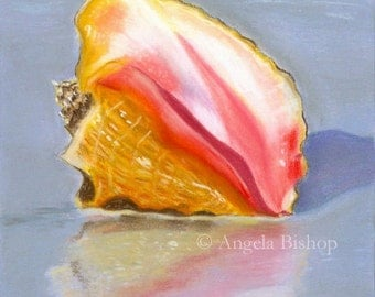 Sea Shell Painting Print, Shell On The Shore, Painting Print, Seascape, Pastel Print, Home Decor, 5 x 7, Pink, Purple, Giclee, Beach, Sand