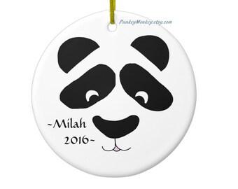 Custom panda bear ornament ceramic personalized Christmas ornament Christmas Yule holidays panda lover black white round ornament bears