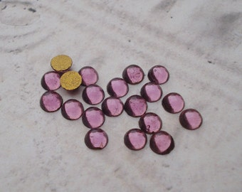 Tiny 4mm Light Amethyst Gold foiled Flat Back Round Glass Cabs or Stones (24 pieces)