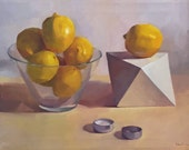 """Art painting lemons still life """"Burnt Out"""" orignial oil on canvas by Sarah Sedwick"""