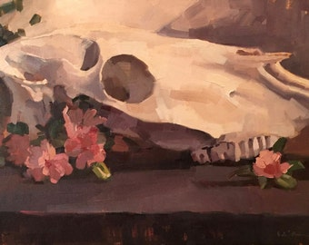 "Art original oil painting still life skull ""Dark Horse"" by Sarah Sedwick 12x16"""