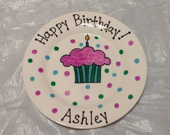 Happy Birthday Plate - Personalized Plate for - Kids - Hand Painted Ceramic Plate - Gift Plate, Birthday Gift for Girl, Birthday Gift