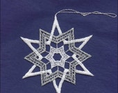Germany Woven Cotton Thread Christmas Snowflake Ornament For Crafting Silver & White  LHS023